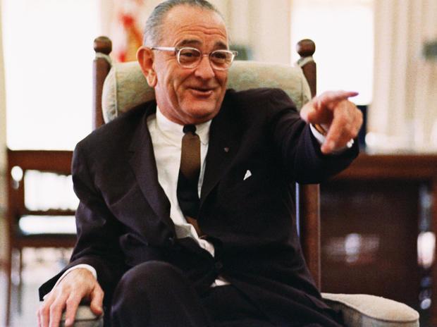 President Lyndon B. Johnson shows his lighter side.