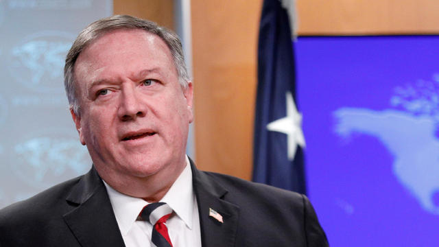 U.S. Secretary of State Mike Pompeo attends a news conference at the State Department in Washington