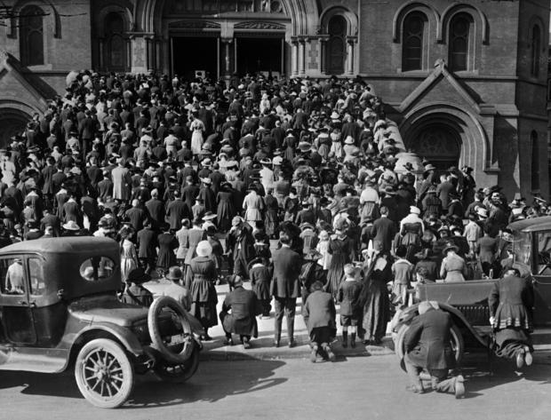 People Gathering to Pray during Influenza Epidemic