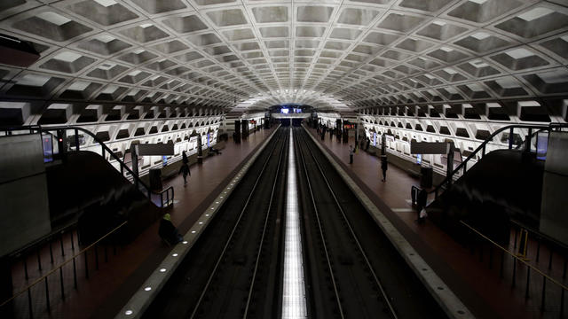 Washington D.C. Street and Metro station is shown nearly empty