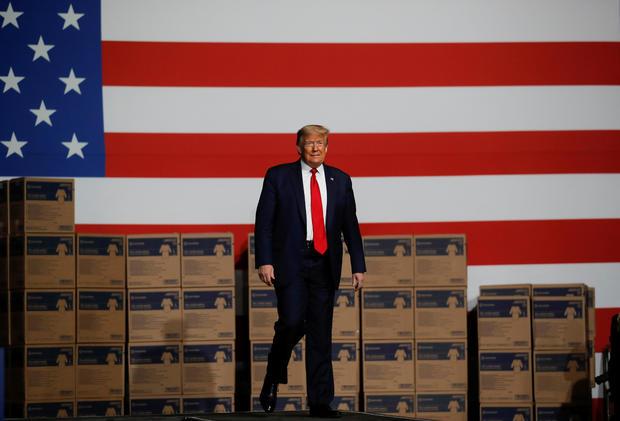 U.S. President Trump visits medical supplies distributor Owens & Minor in Allentown, Pennsylvania