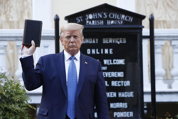 Donald Trump outside St. John's Church