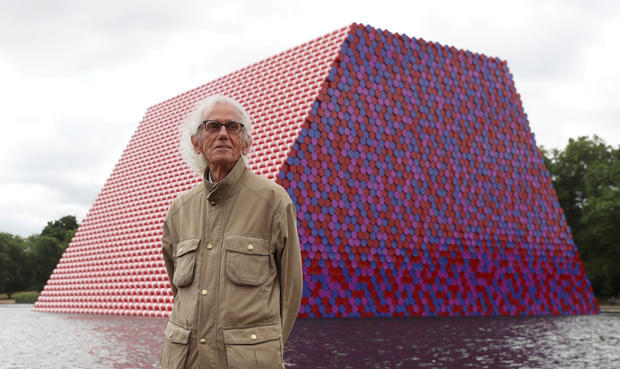 FILE PHOTO: Artist Christo stands in front of his work The London Mastaba, on the Serpentine in Hyde Park, London