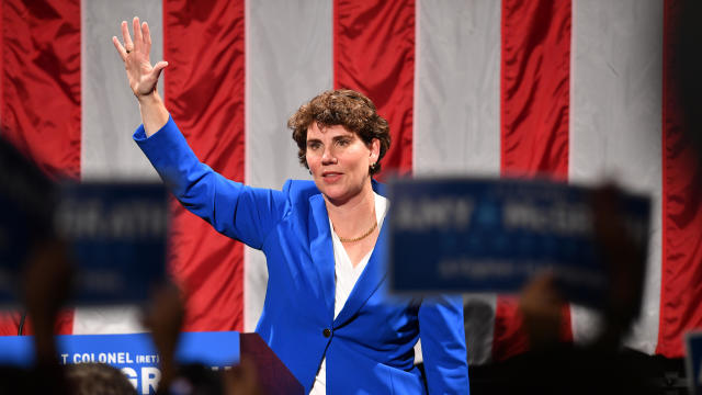 Amy McGrath addresses supporters during her election night event at the EKU Center for the Arts on November 6, 2018, in Richmond, Kentucky.