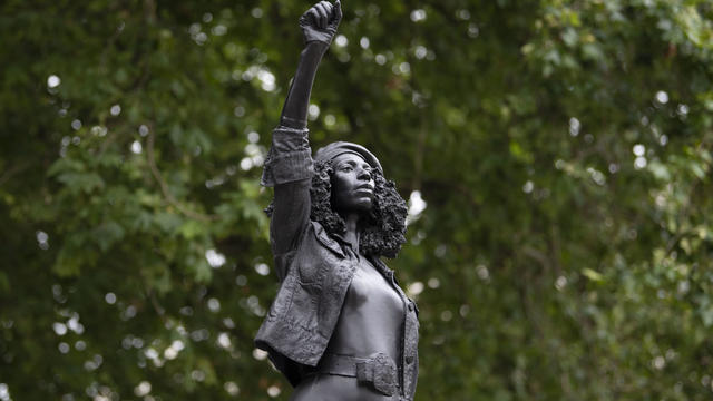 Statue Of BLM Protester Placed On Colston Plinth In Bristol