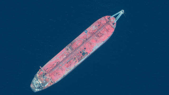 A handout satellite image released July 15, 2020 shows a close up view of FSO Safer oil tanker anchored off the port of Hudaydah