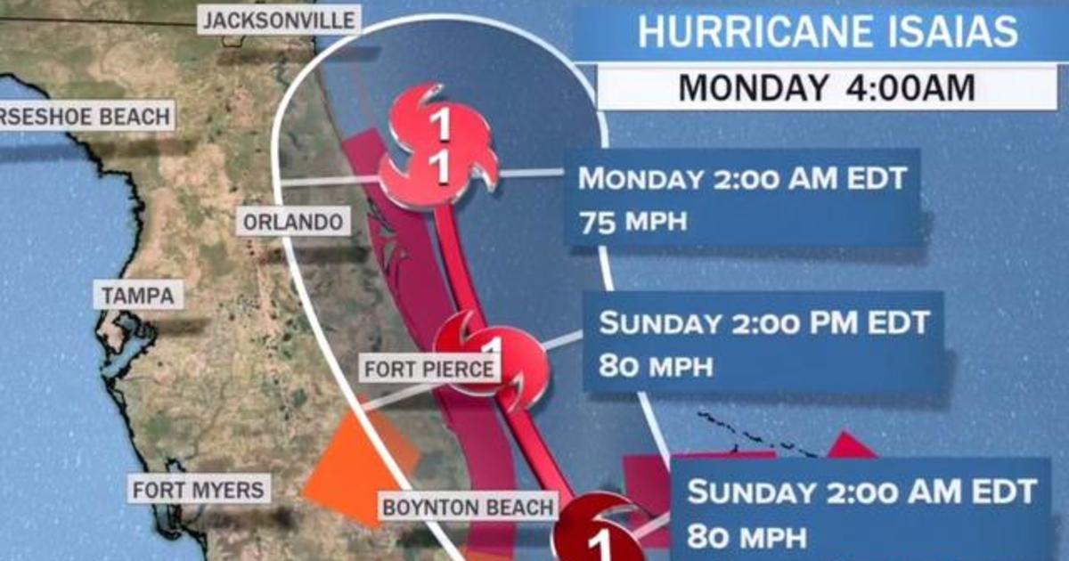 Hurricane Isaias heads toward Florida coast