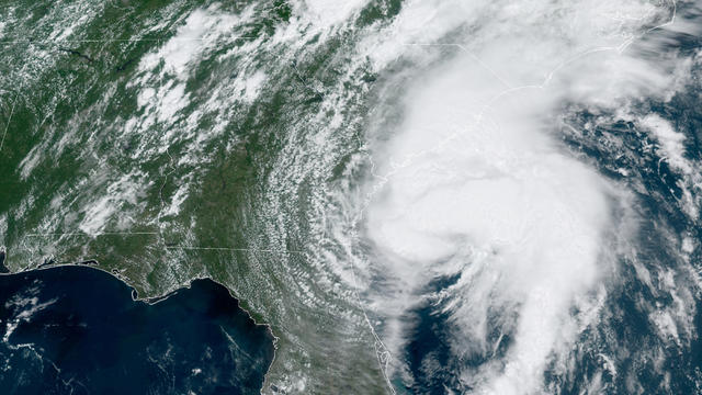 Tropical Storm Isaias is seen off the southeast coast of the U.S. in a satellite image captured at 12:51 p.m. ET on August 3, 2020.