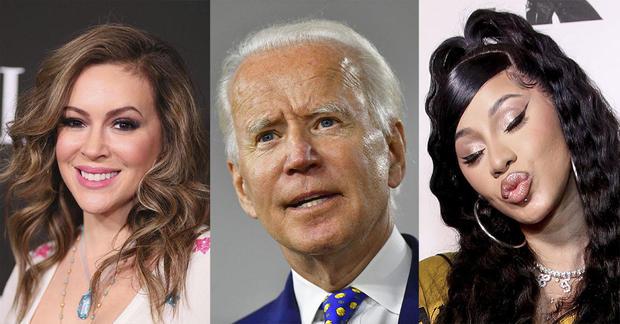 Composite of Joe Biden and Hollywood Celebrities Alyssa Milano and Cardi B