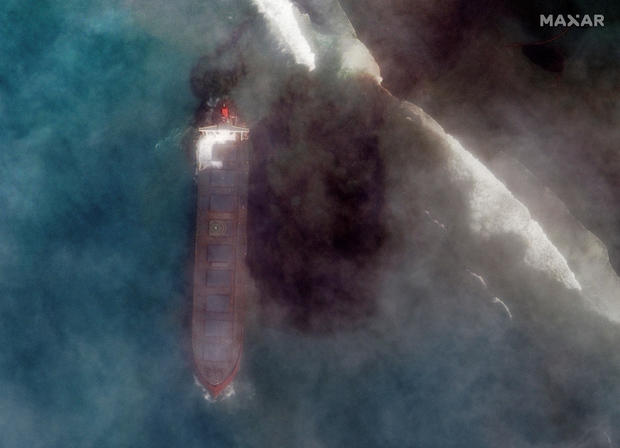 A satellite image shows MV Wakashio