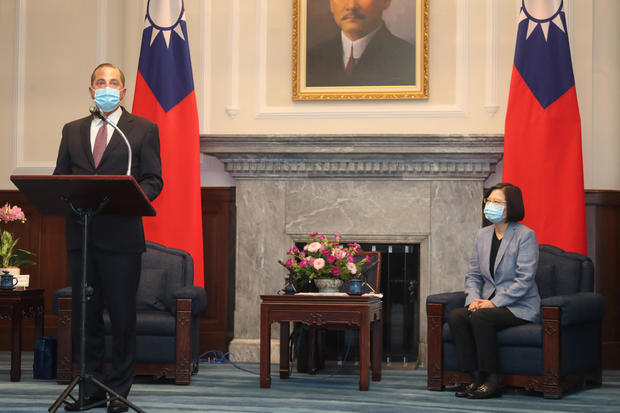 U.S. Secretary of Health and Human Services Alex Azar wearing a face mask attends a meeting with Taiwan President Tsai Ing-wen in Taiwan