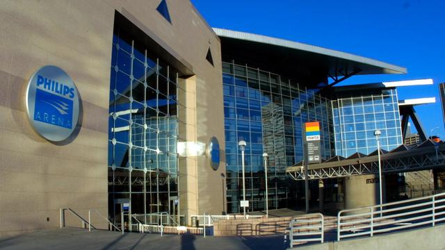 The exterior of the Philips Arena in Atlanta, Geor