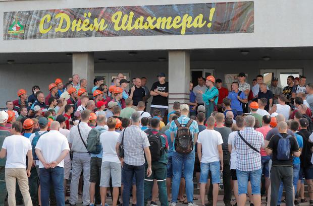 Workers of the potash producer Belaruskali protest against presidential election results near Salihorsk