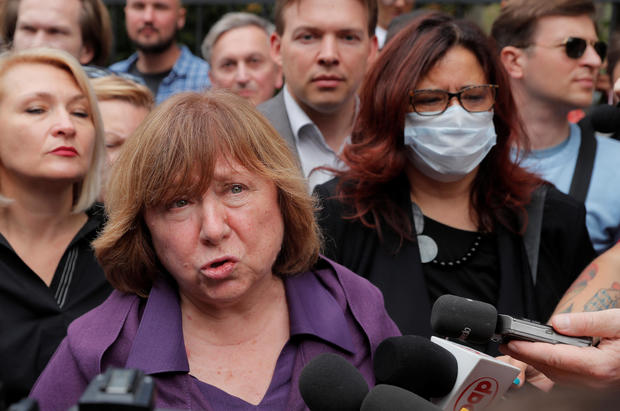 The 2015 Nobel literature laureate Svetlana Alexievich arrives for questioning by state investigative committee in Minsk