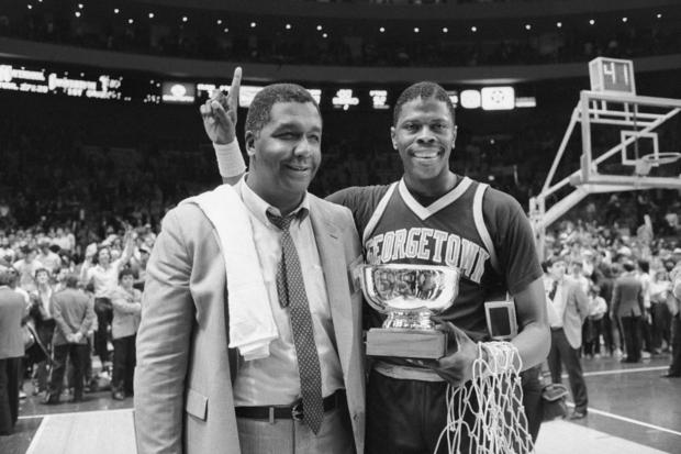 Patrick Ewing with Coach John Thompson