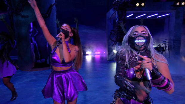 Lady Gaga and Ariana Grande perform during the 2020 MTV VMAs