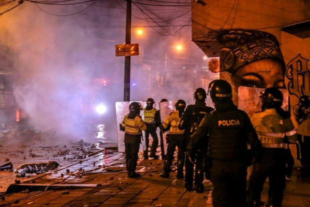 COLOMBIA police protest