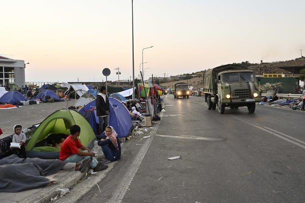 Thousands Of Migrants Displaced After A Fire In Lesbos Camp