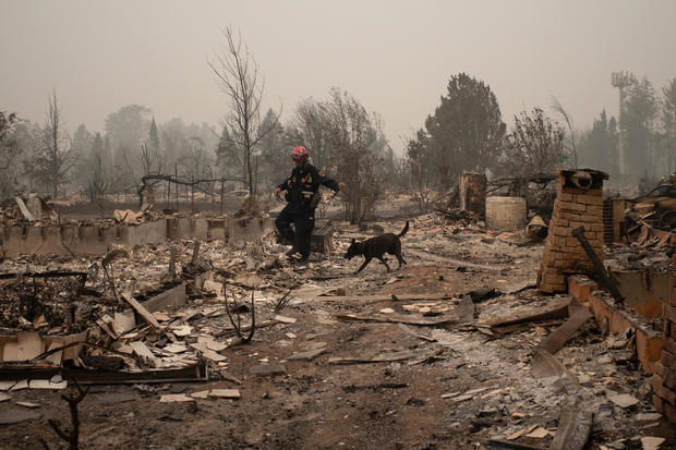 A search and rescue team looks for victims in the aftermath of the Almeda fire in Talent, Oregon