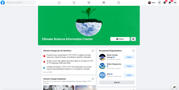 Facebook's climate science information page
