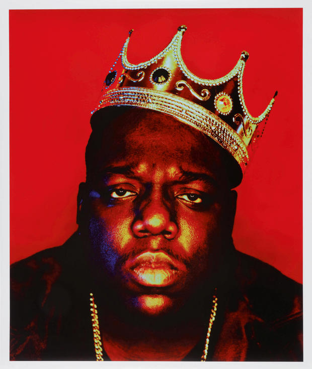 Rapper Notorious B.I.G. is seen in this 1997 photo titled 'Notorious B.I.G as the K.O.N.Y' by Barron Claiborne