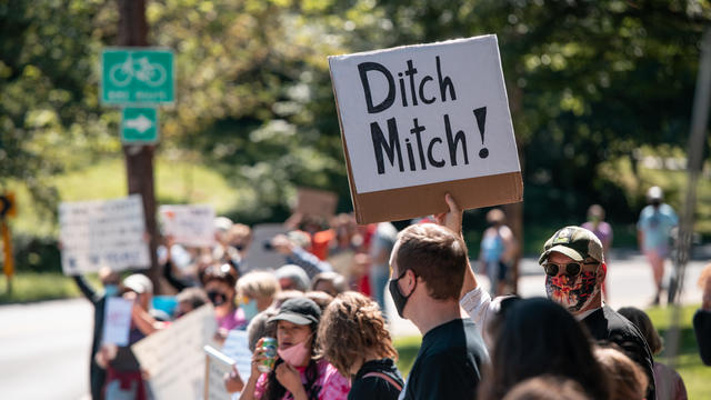 Protesters Demonstrate Against Sen. Mitch McConnell In Wake Of Supreme Court Justice Ruth Bader Ginsburg's Death