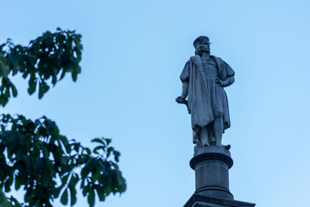 A view of the Christopher Columbus statue at Columbus Circle