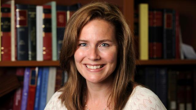 U.S. Circuit Judge Amy Coney Barrett, who was a law professor at Notre Dame University, poses in an undated photograph obtained from Notre Dame on September 19, 2020.