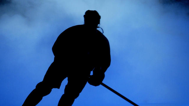 A player skates through the smoke during introductions prior to game one of the Western Conference quarterfinal series of the 2004 Stanley Cup Playoffs between the San Jose Sharks and the St. Louis Blues on April 8, 2004, at the HP Pavilion in San Jose, California.