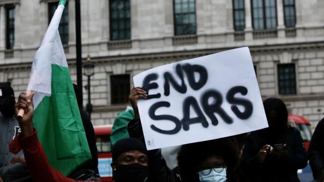 Protest in London against the attacks on anti-SARS demonstrations in Nigeria