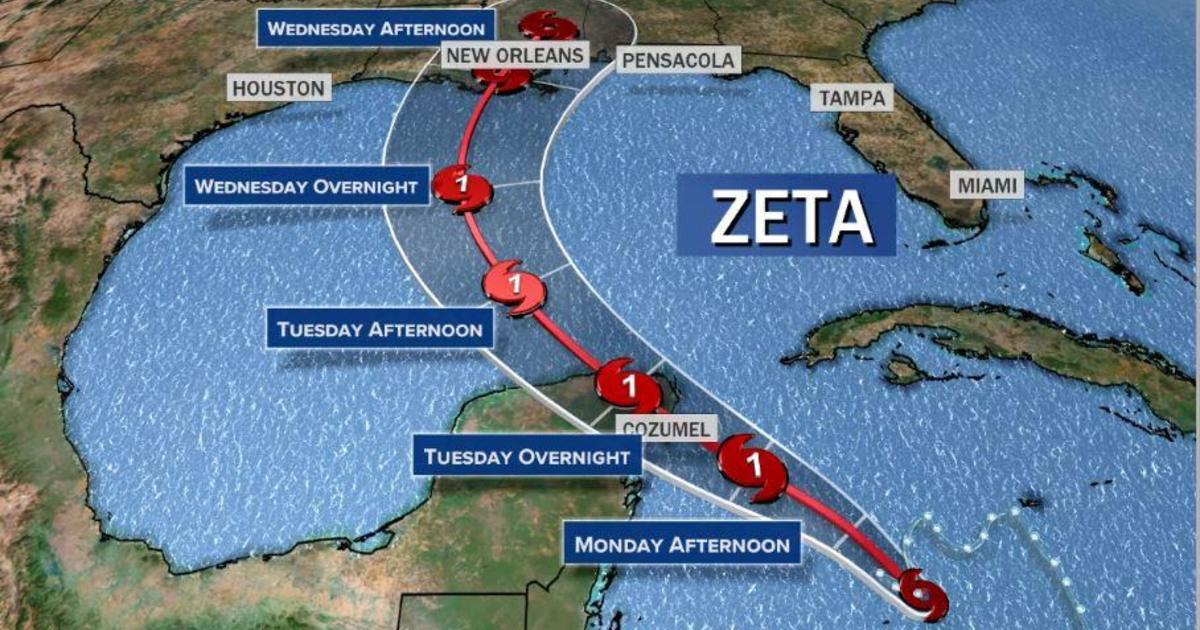 Hurricane Zeta forms in the Atlantic as it moves toward the Gulf Coast -  CBS News