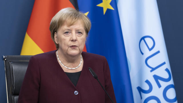 German Chancellor Angela Merkel attends a news conference at the Chancellery in Berlin, Germany, on October 28, 2020.