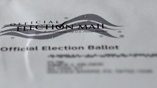 A view of an official Mail-in ballot for the 2020 general