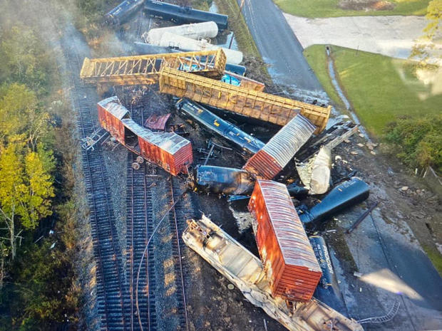 An aerial image from a drone shows train cars scattered over tracks after a derailment in Mauriceville, Texas, on October 29, 2020.
