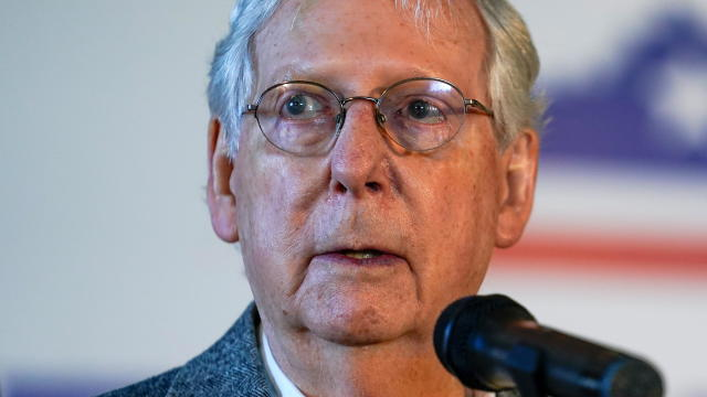 Senate Majority Leader Mitch McConnell speaks at the final campaign event of his 2020 campaign for U.S. Senate in Versailles