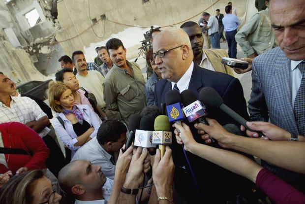 Saeb Erekat Talks To The Press