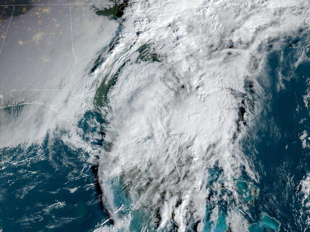 Tropical Storm Eta rakes across Florida in a satellite image captured at 8:26 a.m. ET on November 12, 2020.