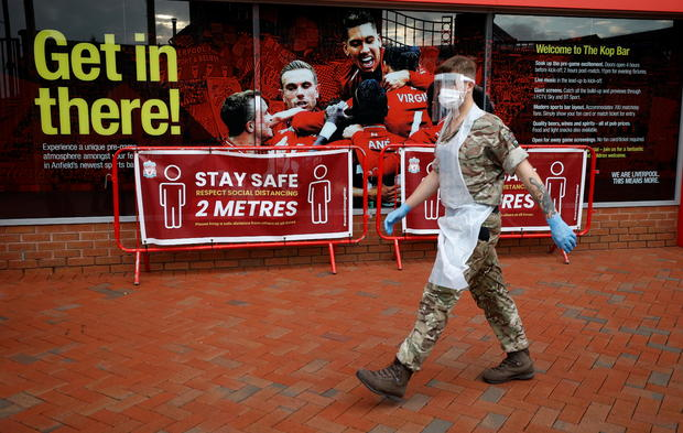 Soldiers from the Royal Artillery regiment operate a coronavirus disease (COVID 19) testing centre at Liverpool Football Club's Anfield stadium in Liverpool, Britain