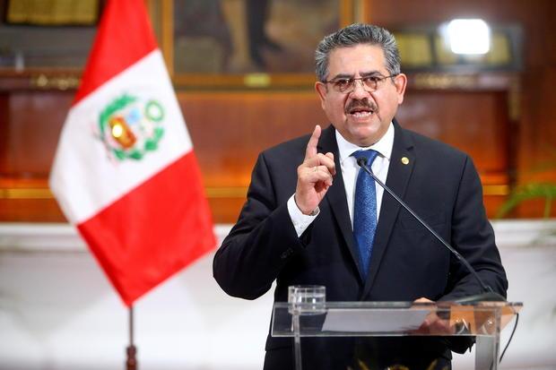 Peru's interim President Manuel Merino announces his resignation in a televised address, in Lima