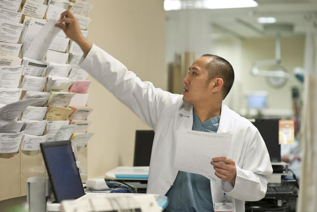 Doctor selects information for patient