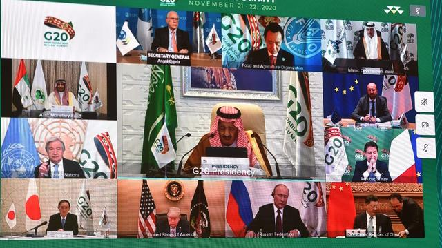 Saudi King Salman bin Abdulaziz gives virtual speech during the 15th annual G20 Leaders' Summit in Riyadh, Saudi Arabia