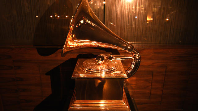 A Grammy Award is displayed at the Producers and Engineers Wing Grammy week event honoring Swizz Beatz and Alicia Keys at The Rainbow Room on January 25, 2018, in New York City.