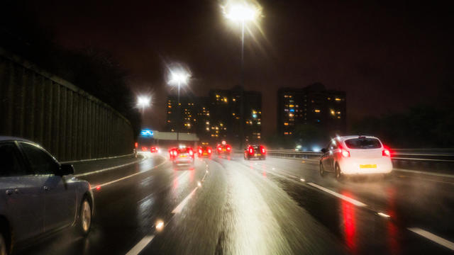 Motorway driving at night in rain