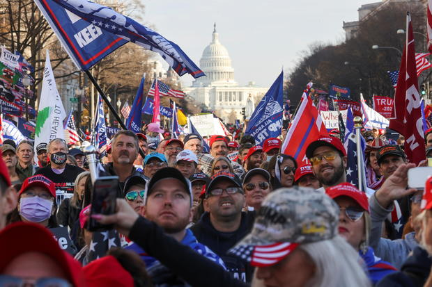 People take part in a rally to protest the results of the election, in Washington