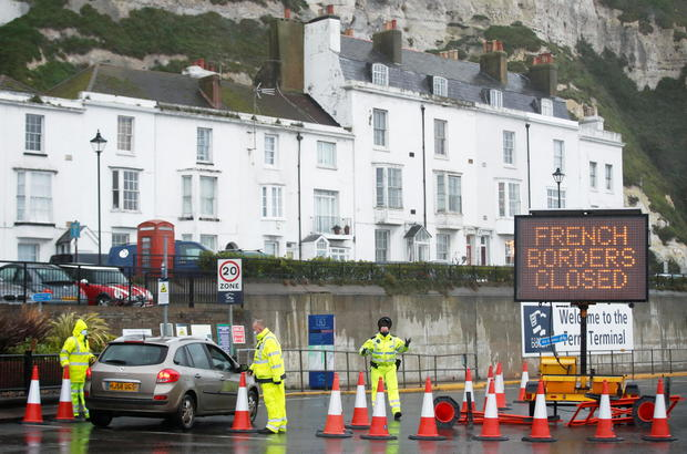 Port of Dover as EU countries impose a travel ban from the UK