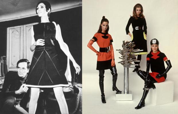 Models wearing fashions designed by Pierre Cardin.