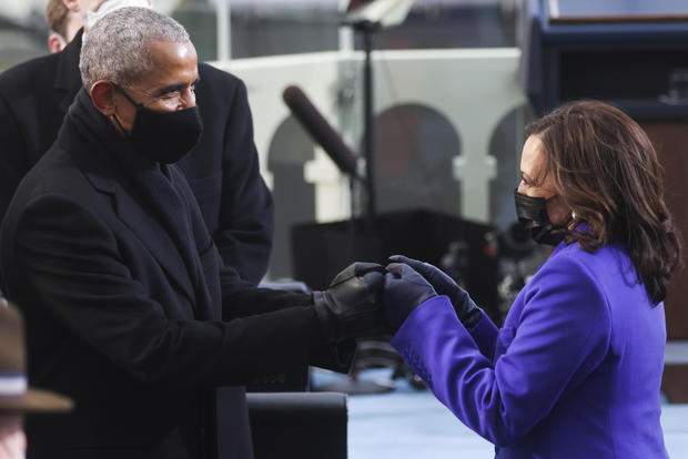 Former President Barack Obama greets Vice President-elect Kamala Harris at the presidential inauguration