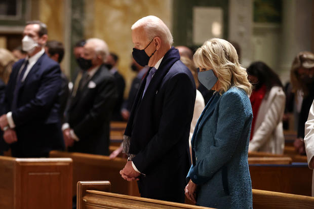 Joe Biden at church before inauguration