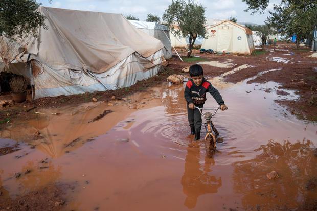 Heavy Rainstorm Flood Syrian Refugee Camps In Idlib