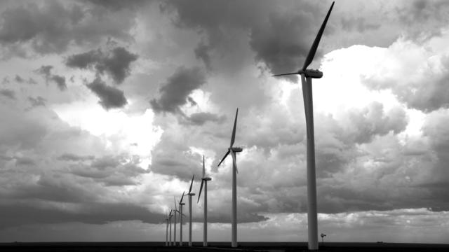Wind Turbines On The Open Plains Near Amarillo